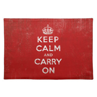 Keep Calm and Carry On Vintage Red Cloth Placemat