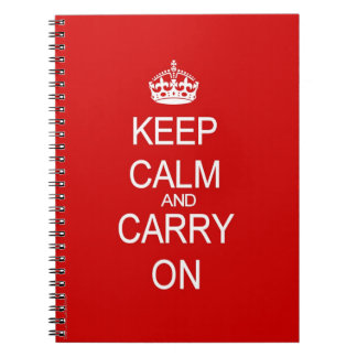 Keep Calm and Carry On Vintage Red Spiral Notebooks