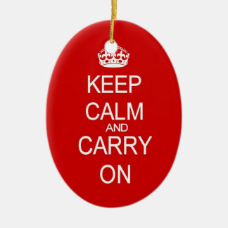 Keep calm and carry on vintage red ornament