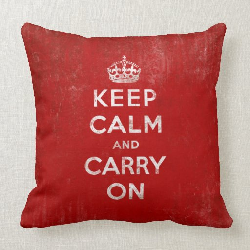Keep Calm and Carry On Red Pillow
