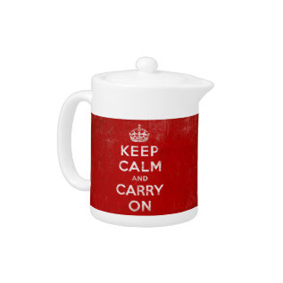 Keep Calm And Carry On, Vintage Red/white Teapot at Zazzle