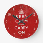 Keep Calm and Carry On, Vintage Round Clock
