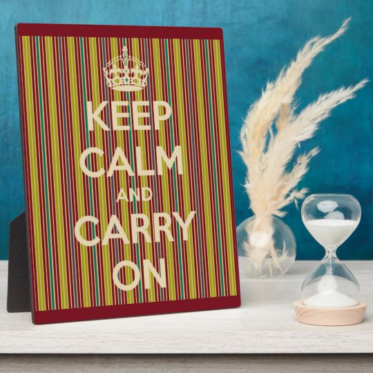 Keep Calm and Carry On Vintage Stripe Plaque