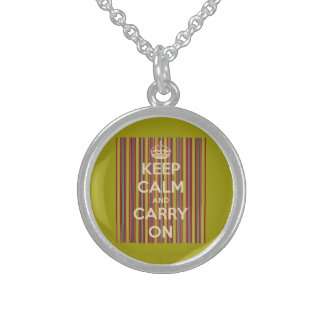 Keep Calm and Carry On Vintage Stripes Round Pendant Necklace