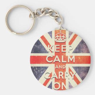 keep calm and carry on vintage Union Jack flag Basic Round Button Keychain