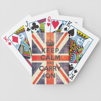 keep calm and carry on vintage Union Jack flag Bicycle Playing Cards