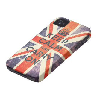 keep calm and carry on vintage Union Jack flag iPhone 4 Cover