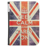 keep calm and carry on vintage Union Jack flag Kindle Case