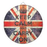 keep calm and carry on vintage Union Jack flag Dartboard