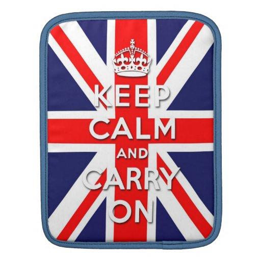 keep calm and carry on vintage Union Jack flag iPad Sleeve