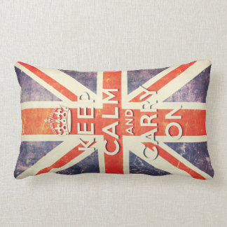 keep calm and carry on vintage Union Jack flag Lumbar Pillow