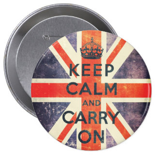 keep calm and carry on vintage Union Jack flag Pinback Button