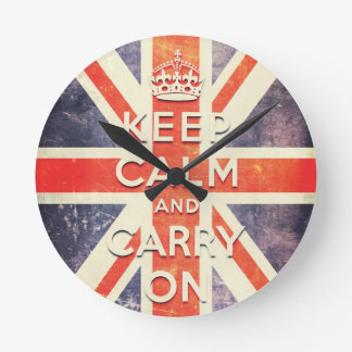 keep calm and carry on vintage Union Jack flag Round Wall Clock