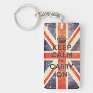 keep calm and carry on vintage Union Jack flag Single-Sided Rectangular Acrylic Keychain