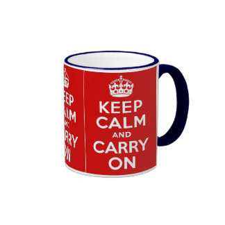 Keep Calm and Carry On ~ Vintage World War 2 Ringer Coffee Mug