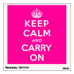 Walls 360 Custom Wall Decal with Keep Calm and Carry On (Magenta) design
