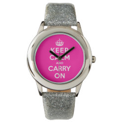 Kid's Silver Glitter Strap Watch with Keep Calm and Carry On (Magenta) design