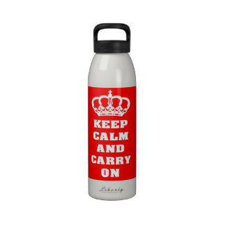Keep calm and carry on reusable water bottle