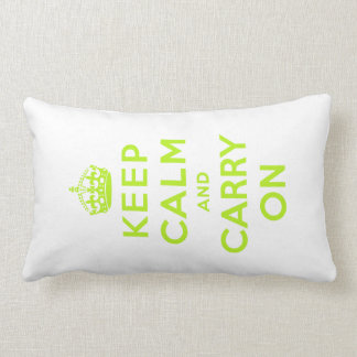 keep calm and carry on -  white and green lumbar pillow
