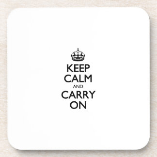 Keep Calm And Carry On. White Background Pattern Drink Coasters