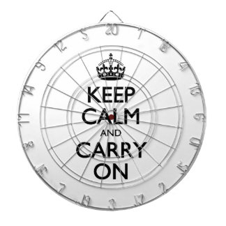 Keep Calm And Carry On. White Background Pattern Dart Board