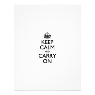 Keep Calm And Carry On White Background Pattern Personalized Letterhead