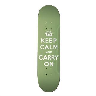 Keep calm and Carry On with an Eco Green BG Custom Skate Board
