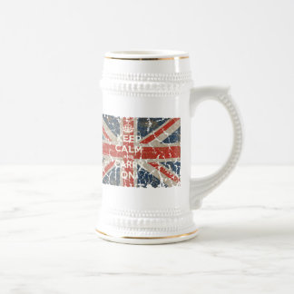 Keep Calm and Carry On with UK  Flag 18 Oz Beer Stein