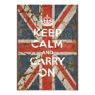 Keep Calm and Carry On with UK  Flag 5x7 Paper Invitation Card