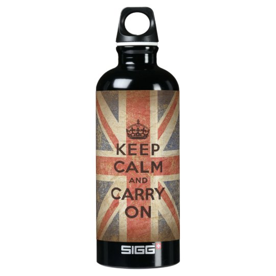 Keep Calm and Carry On with UK Flag Aluminum Water Bottle