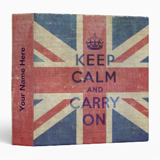 Keep Calm and Carry On with UK flag |  Binder