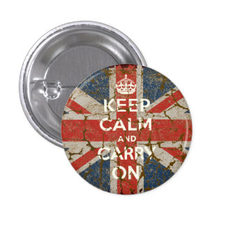 Keep Calm and Carry On with UK  Flag Button