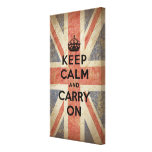 Keep Calm and Carry On with UK  Flag Canvas Print