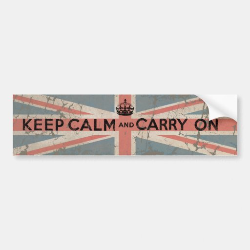 Keep Calm and Carry On with UK Flag Car Bumper Sticker