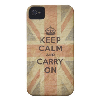 Keep Calm and Carry On with UK  Flag iPhone 4 Case-Mate Case