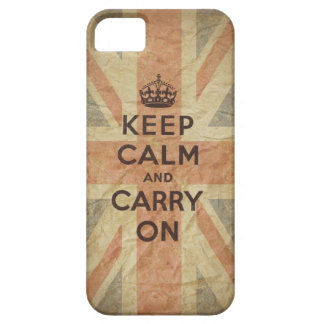Keep Calm and Carry On with UK  Flag iPhone 5 Case