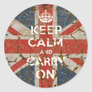 Keep Calm and Carry On with UK  Flag Classic Round Sticker