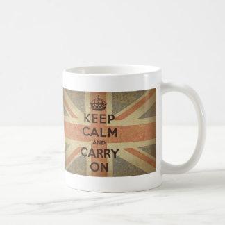 Keep Calm and Carry On with UK  Flag Coffee Mugs