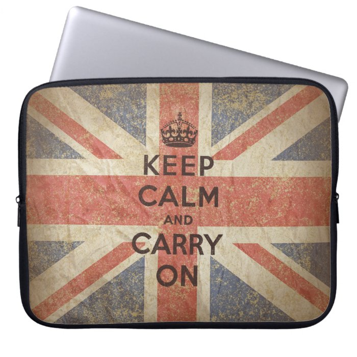 Keep Calm and Carry On with UK Flag Computer Sleeve