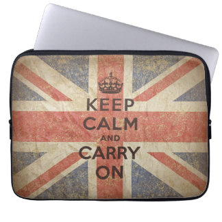 Keep Calm and Carry On with UK Flag Computer Sleeves