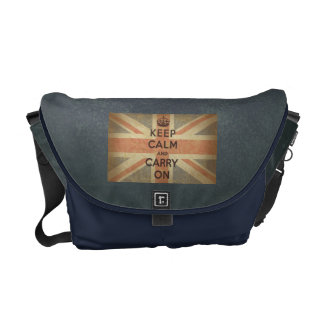 Keep Calm and Carry On with UK Flag. Courier Bag