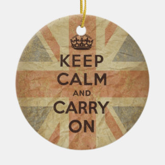 Keep Calm and Carry On with UK Flag Double-Sided Ceramic Round Christmas Ornament