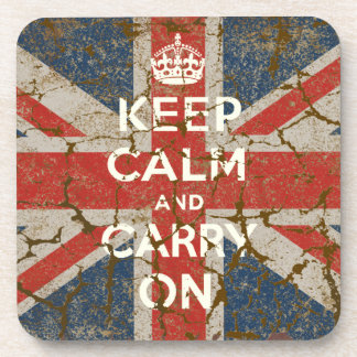 Keep Calm and Carry On with UK  Flag Drink Coaster