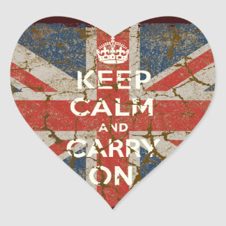 Keep Calm and Carry On with UK  Flag Heart Sticker