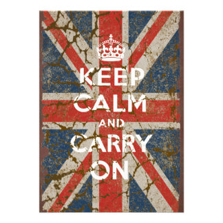 Keep Calm and Carry On with UK Flag Card