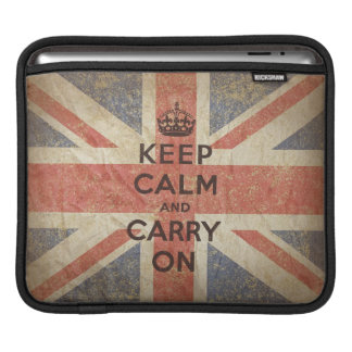 Keep Calm and Carry On with UK Flag. iPad Sleeve