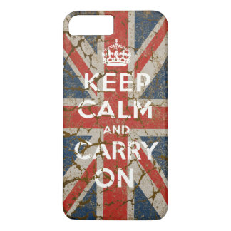 Keep Calm and Carry On with UK  Flag iPhone 8 Plus/7 Plus Case