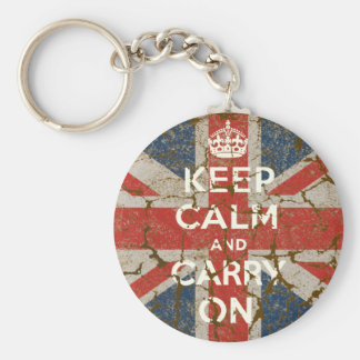 Keep Calm and Carry On with UK  Flag Keychain