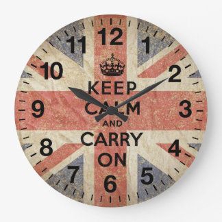 Keep Calm and Carry On with UK  Flag Large Clock