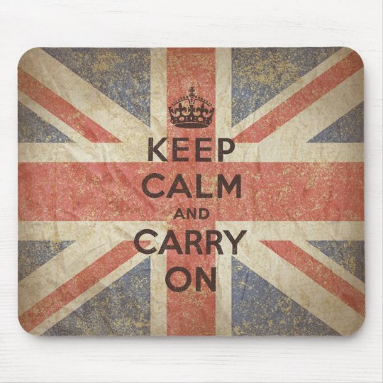 Keep Calm and Carry On with UK Flag Mouse Pad
